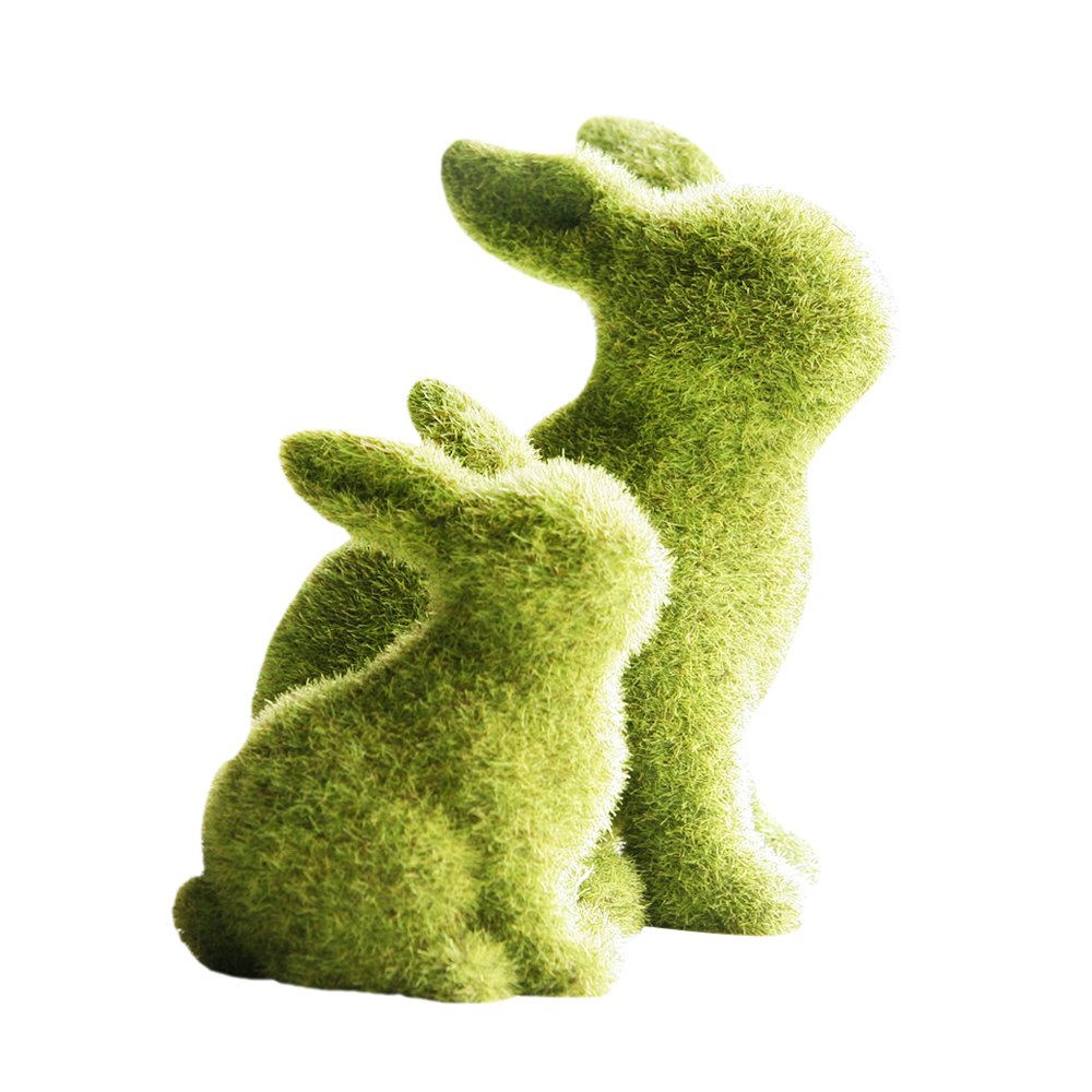 2PCS Resin Flocking Rabbit Ornaments Green Resin Bunny Ornaments Garden Patio Ornament Grass Effect Animals Statue