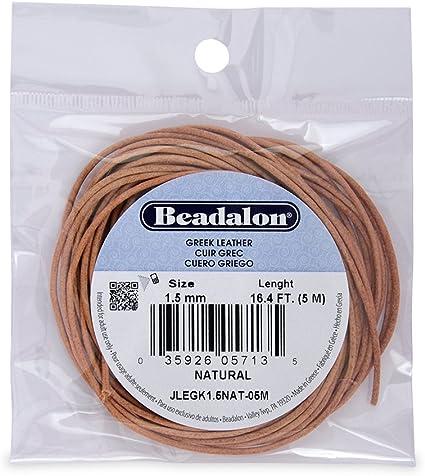 Beadalon Greek Leather 1-1//2mm Black 5-Meter