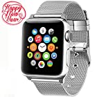 Apple Watch band 38mm,AGUARA Apple Watch Accessories Milanese Loop Stainless Steel Replacement iWatch Band Classic Buckle for Apple Watch Series 2,Series 1,Sport,Edition (38mm, Silver)