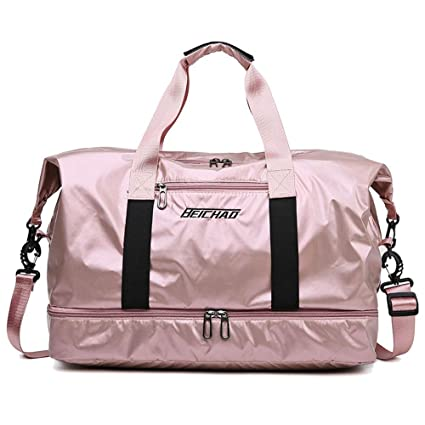 QQLCK Pink Glossy Fitness Gym Bags Dry Wet Tas Bolsos para ...