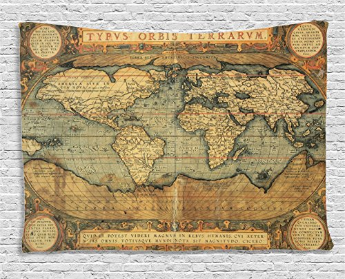 Ambesonne Wanderlust Decor Collection, 16Th Century Map Of The World History Adventure Boundaries Cartography Civilization, Bedroom Living Room Dorm Wall Hanging Tapestry, 60W X 40L Inch