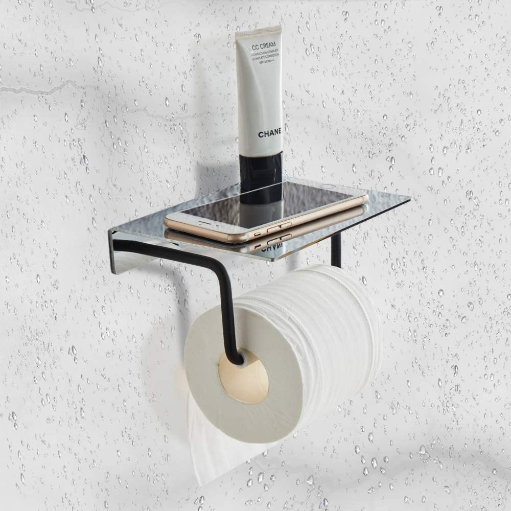 Toilet Paper Holder With Shelf Wall Mount, Bathroom Tissue Holder with Patented Glue + Self-Adhesive, No Drilling Toilet Paper Roll Holder, Stainless Steel with Mirror Brushed Finish + Matte Black: Home & Kitchen