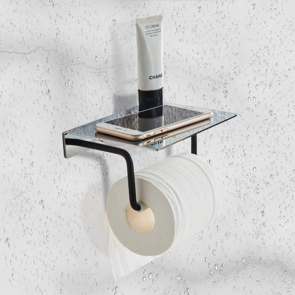 FORIOUS Toilet Paper Holder Wall Mount, Bathroom Tissue Holder with Patented Glue + 3M Self-Adhesive, No Drilling Toilet Paper Roll Holder, Stainless Steel with Mirror Brushed Finish + Matte Black