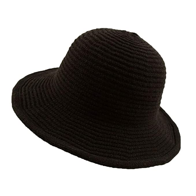 89211d817 Womens Plain Soft Knitted Crochet Fisherman Cap Solid Color Wide ...
