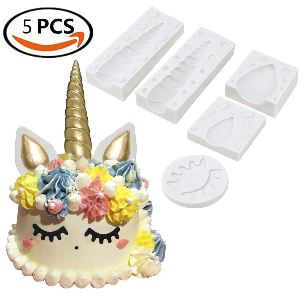 Unicorn Horn Silicone Cake Toppers Mold with Ears and Eyes Set Cake Decorating Moulds Sugarcraft Fondant Cake Decorating Tools (5 Pcs/set) by distance