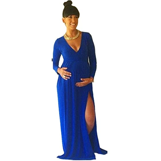 Beautiful Pregnant Dresses Chiffon Royal Blue Baby Shower Evening Dress High Slit  Long Sleeve Prom Dress