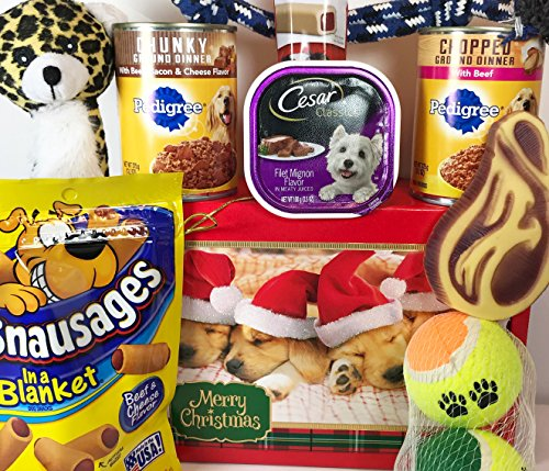 Christmas Dog Gift Box Basket Prime For A Favorite Canine / Fur Baby -- Send These Treats and Toys to a Furry Pet Friend!