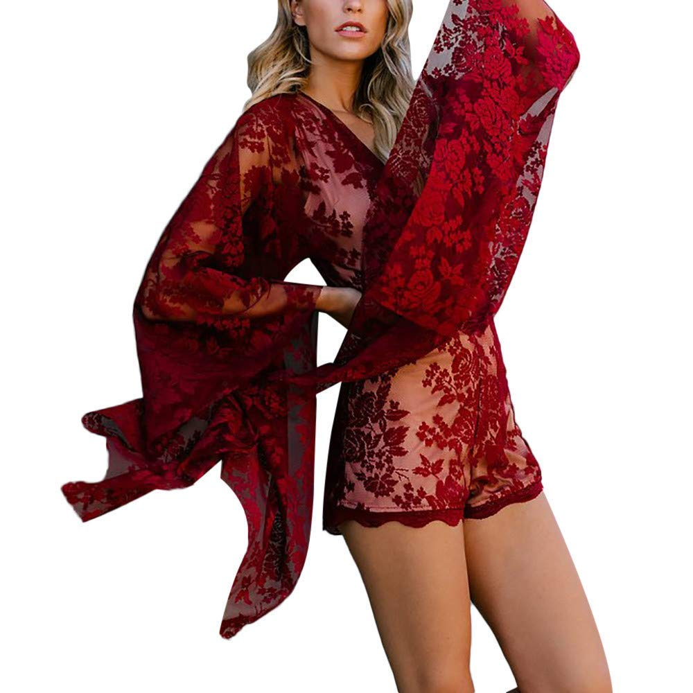 Ladies Fashion Elegant Jumpsuit Women Jumpsuits and Rompers Clubwear, Lace V-Neck Print Long-Sleeved Romper Dress Red S