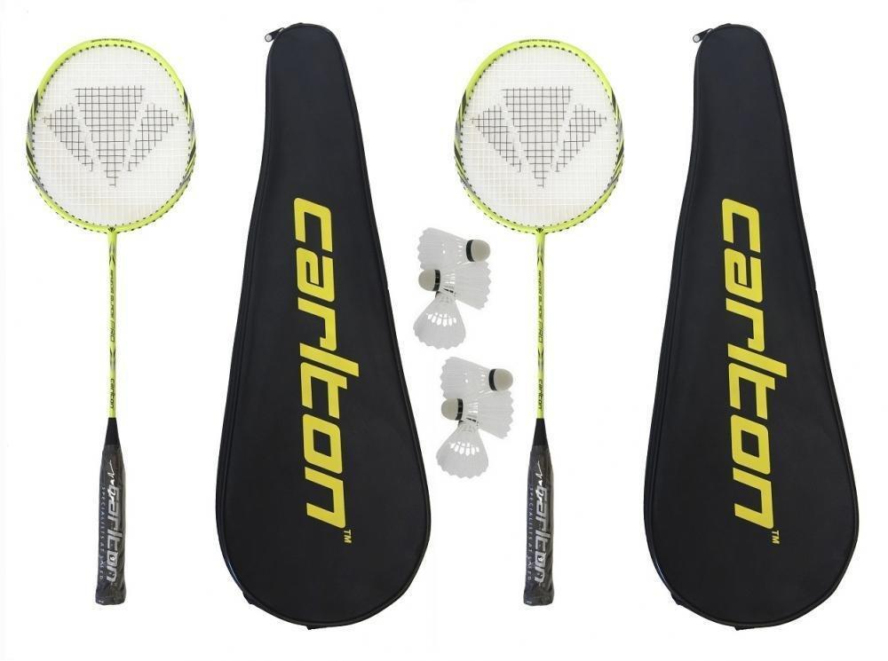 2 x Carlton Razorblade Pro Badminton Rackets + 6 Carlton Shuttlecocks