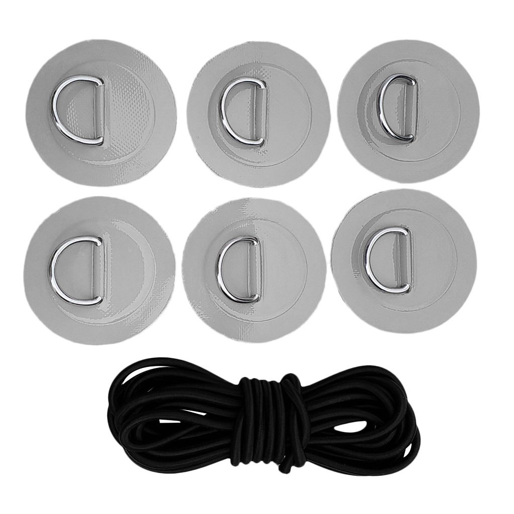 YiMusic Heavy Duty SUP Bungee Deck Rigging Kit with 6 Pieces Stainless Steel D-Ring Patch Suit for PVC Inflatable Boat Kayak Canoe Deck Accessories (Gray) by YiMusic