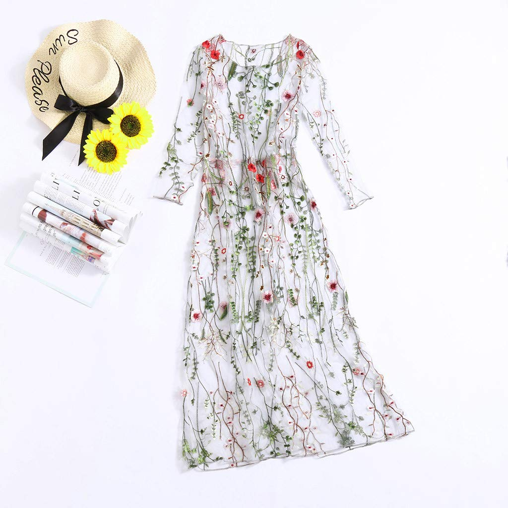Onegirl Women's Fashion Floral Embroidered Dresses Mesh Half Sleeves Sheer Two-Piece Evening Party Dress Beige by Onegirl-dress (Image #5)