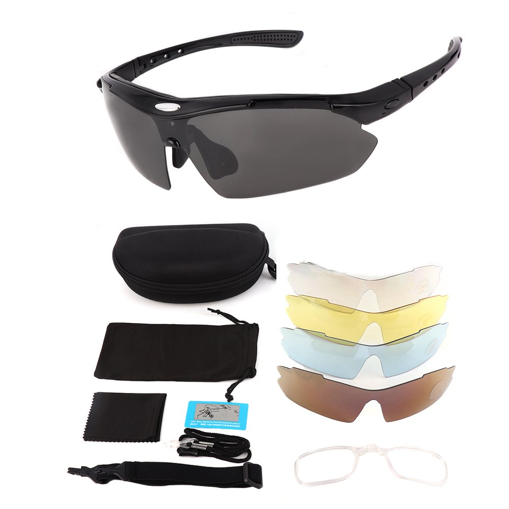 Polarized Sports Sunglasses for Men Women, KEMIMOTO Motorcycle Rider Glasses With 5 Lens Kits for Cycling Running Driving Fishing Golf Baseball Glasses