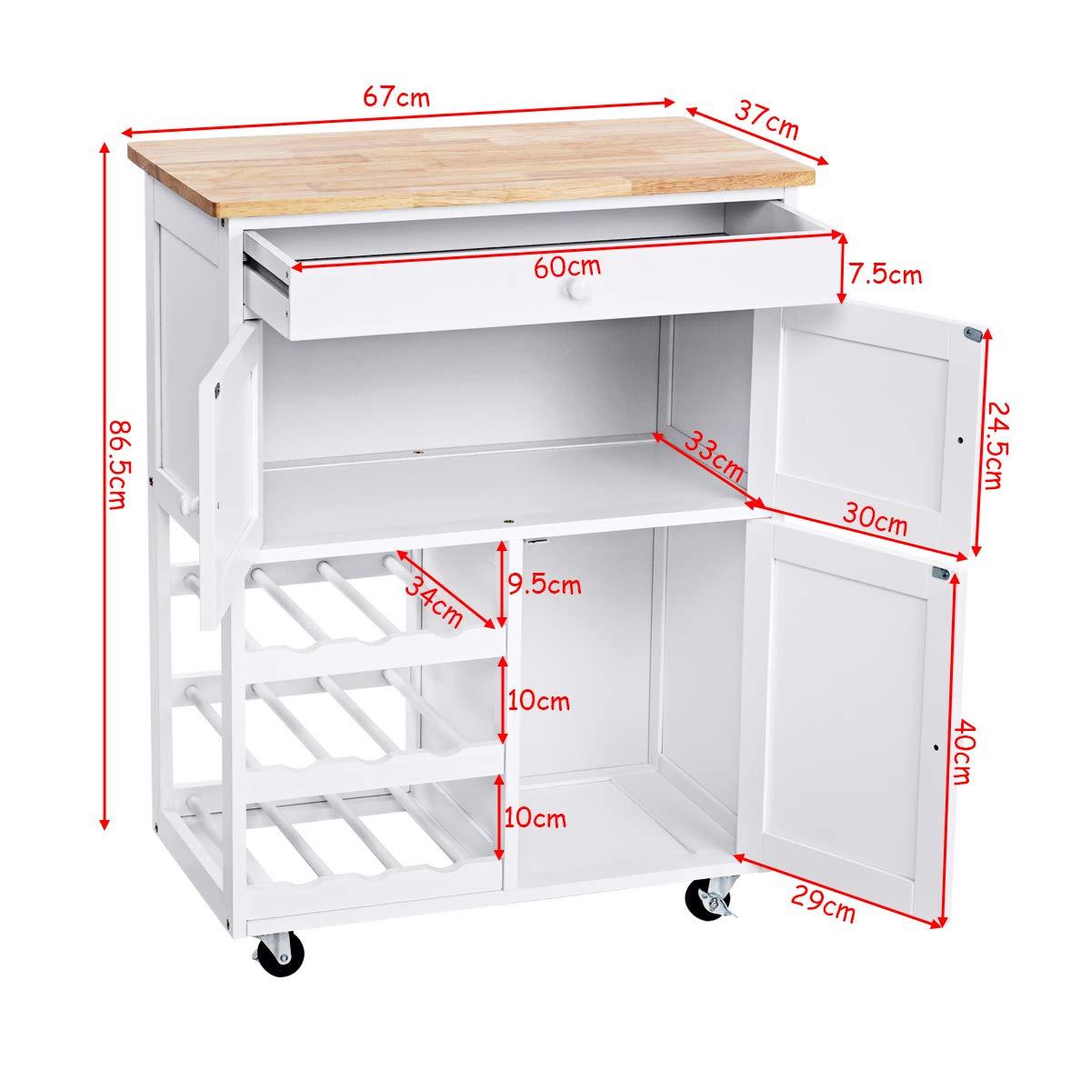 Küchenwagen weiß/Holz COSTWAY