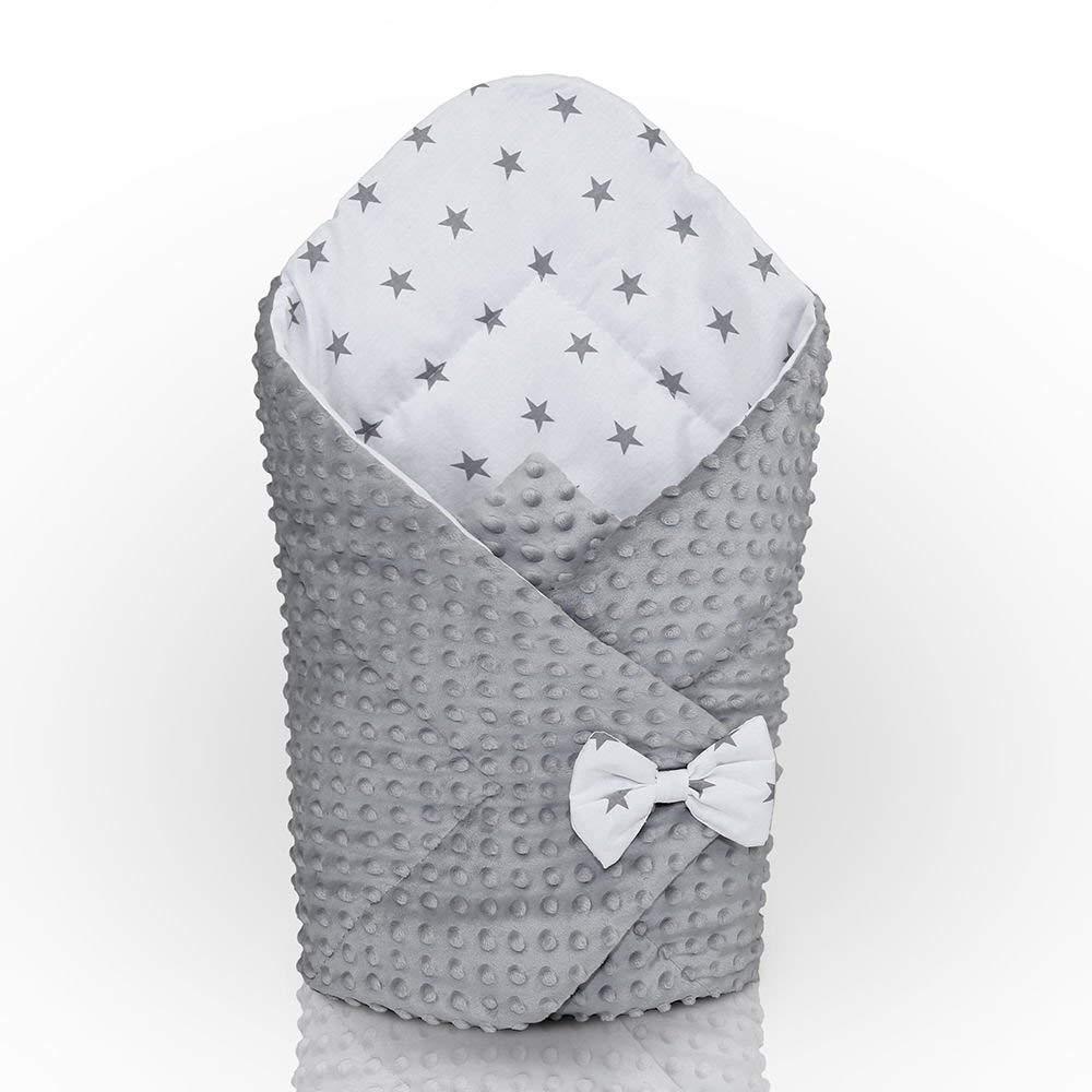 DIMPLE Swaddle WRAP Newborn Infant Bedding Blanket Cotton Sleeping Bag Cotton (Grey - Grey Stars on White Background)