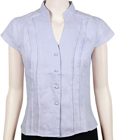 Sinologie - Camisas - Cuello Mao - para Mujer Azul Celeste S: Amazon.es: Ropa y accesorios