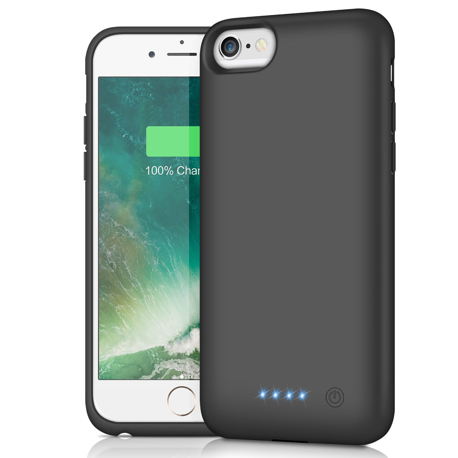 iPhone 6s/6 Battery Case 6000mAh, HETP Portable Rechargeable Extended Battery Pack Charging Case for Apple iPhone 6 iPhone 6s Protective Backup Power Bank (4.7 inch)- Black