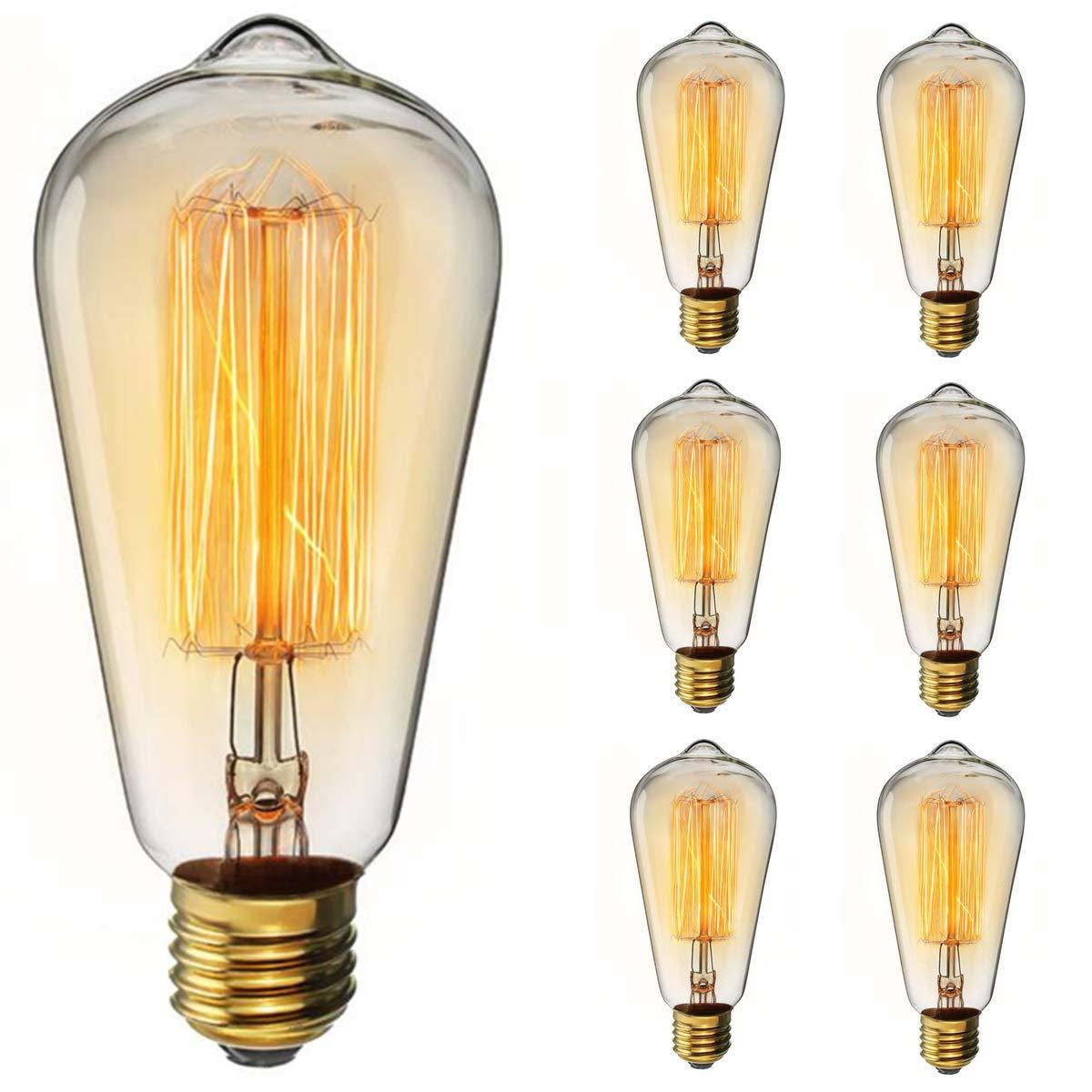 Vintage Edison Bulb KINGSO Dimmable 60W Edison Light Bulb Squirrel Cage Filament Incandescent Antique Light Bulb E26 Base ST64 110V - 6 Pack
