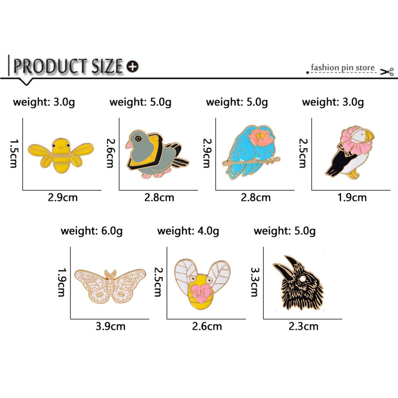 Animal Enamel Pins Brooch Cartoon Cute Bird Pigeon Eagle Butterfly Bee Bread Parrot Brooches Badge Denim Decoration Pin Button
