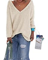 Healthy_YIDAI Loose V Neck Sweater Women's Long Sleeve Knitted Pullover Casual Tops Jumper Knitwear
