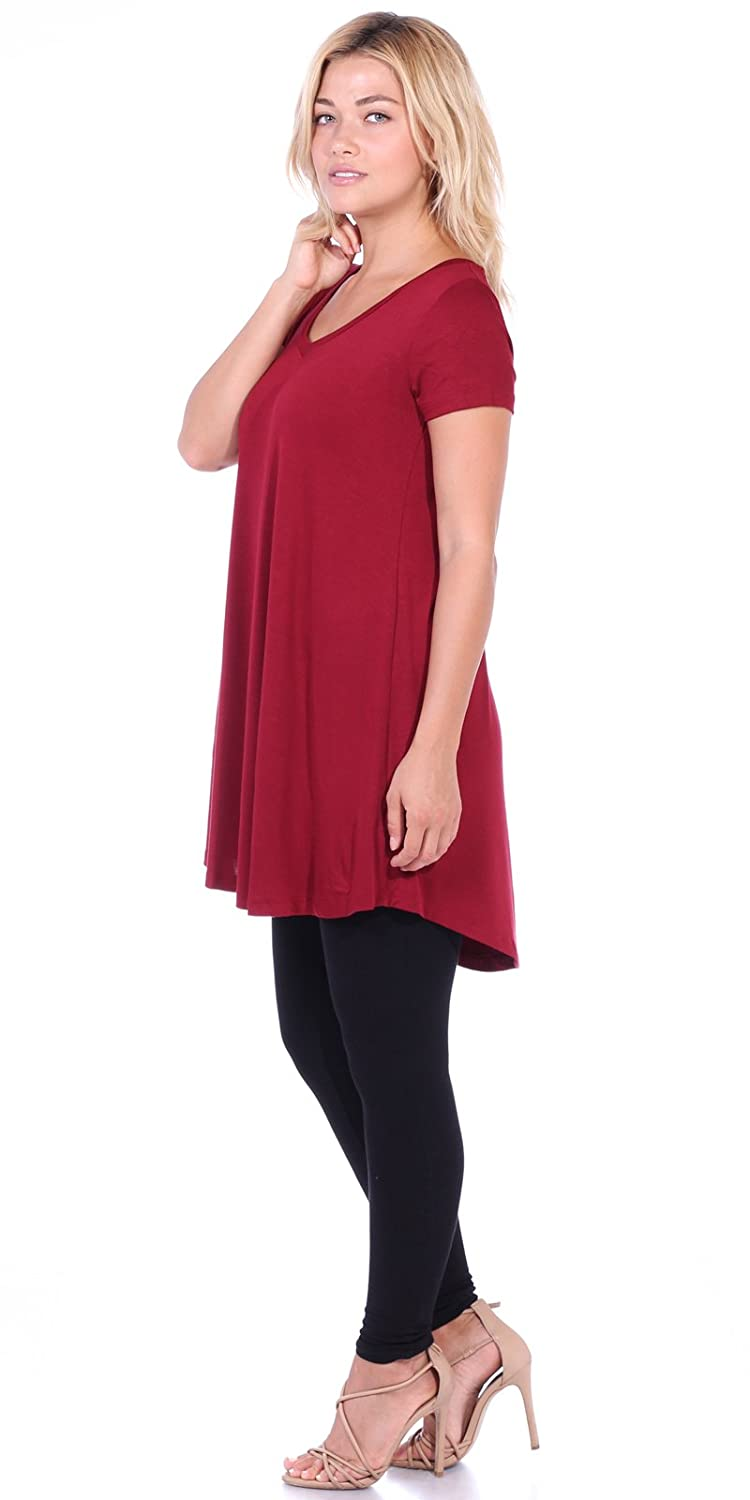Popana Womens Tunic Tops for Leggings Short Sleeve Summer Shirt Made in USA 3X Burgundy