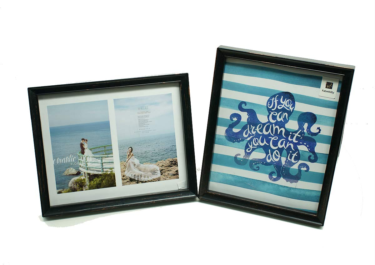 Picture Frames Set Wooden Home Decoration Pack of 2: 5x7 inches (2 pcs Golden Black)