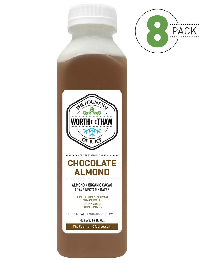 The Fountain of Juice Raw Cold-Pressed No-HPP Chocolate Almond Nut Milk (8 Pack)