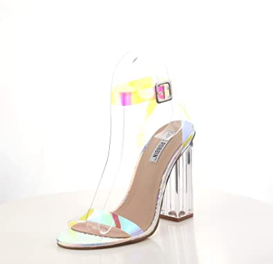 09e198b708c Shoes2Die4 New Cape Robbin Mercy Ice Holographic Snake Embossed Transparent  Square Chunky Heels