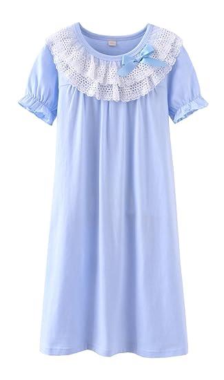 ABClothing Camisones de Encaje y Camisones Bowknot niñas Ropa de Dormir 100% algodón para niños de 3 a 12 años: Amazon.es: Hogar