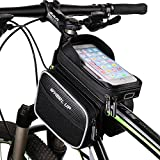 Bestowal Bicycle Frame Bag - Waterproof Bike Front Crossbar Bag 6.2 Inch Touch Screen Phone Case Double Pouch Mountain Road Cycling Frame Tube Bag with Reflective Strips