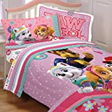 4pc Paw Patrol Twin Bedding Set Best Pup Pals Skye and Everest Comforter and Sheet Set