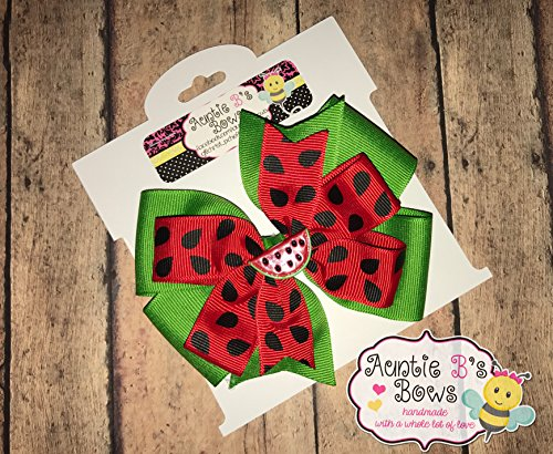 Red and Green Watermelon Pinwheel Hair Bow 4