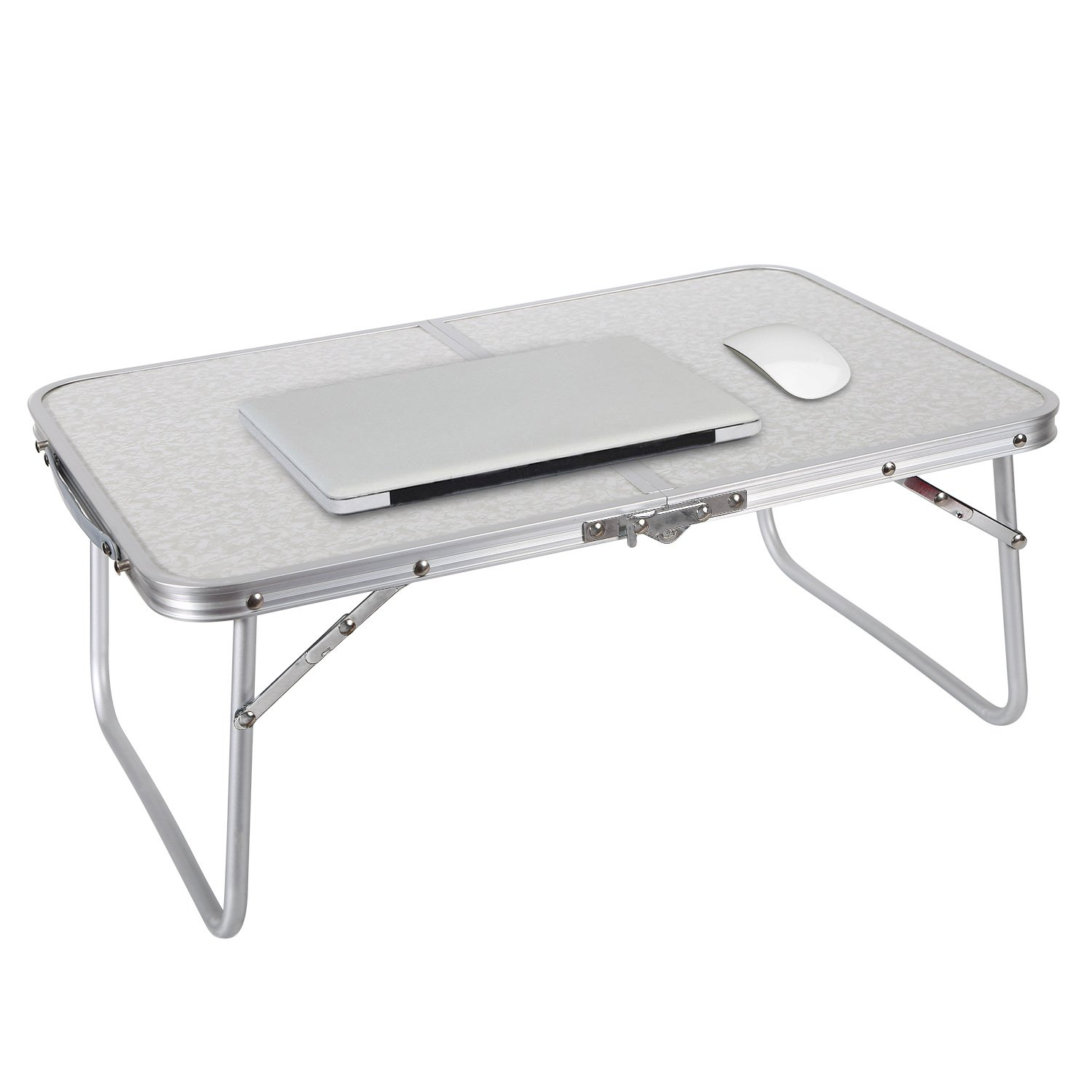 REDCAMP Foldable Mini Laptop Table, Portable Desk for Bed, Folds in Half, Silver, L23.6'' x W15.7'' x H9.8''