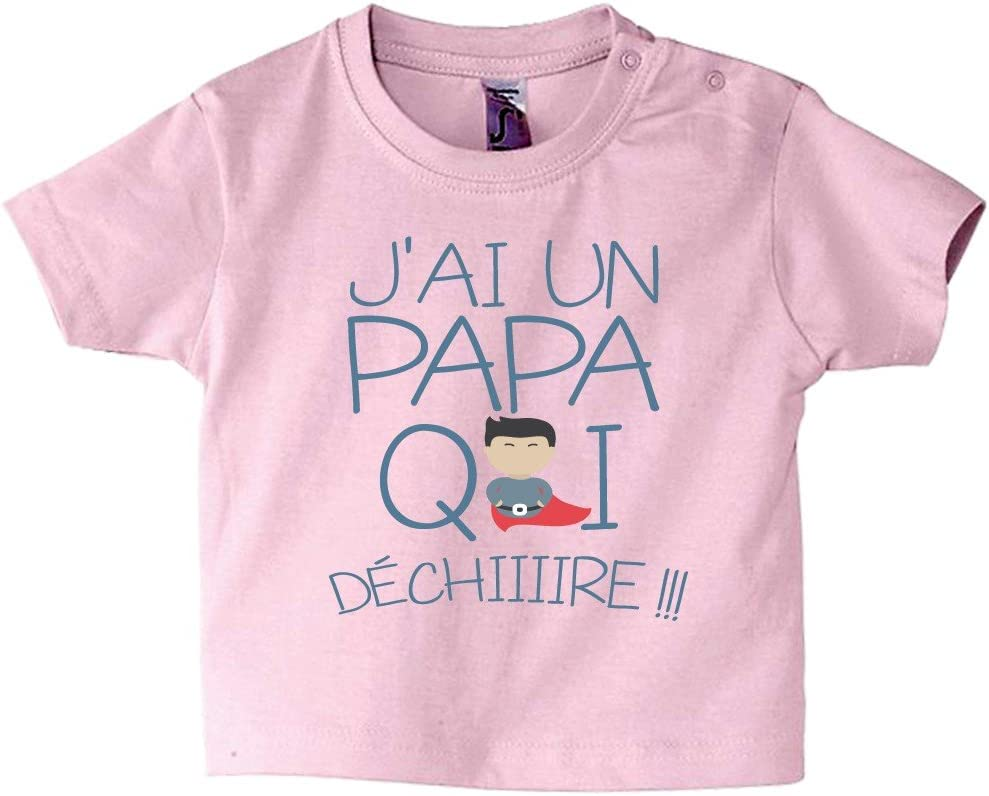 100 coton texte rigolo 3//6 Mois cadeau b/éb/é T-shirt b/éb/é manches courtes Rose tee-shirt fille et gar/çon humour