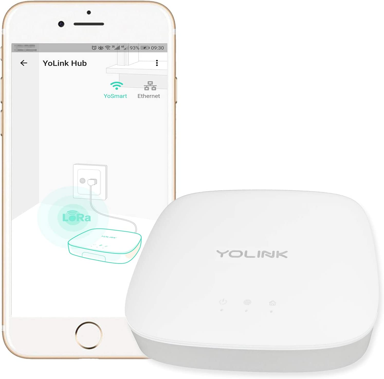 YoLink Hub - Central Controller Only for YoLink Devices, 1/4 Mile World's Longest Range Smart Hub LoRa Enabled Smart Home Automation Hub Smart Home Security Monitoring Gateway