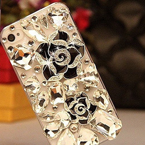iPhone 7 Plus Case, iPhone 8 Plus Case, LU2000 3D Crystals Flower [Camelliae Series] Sparkle Stones Jeweled Bling Phone Hard Case Back Cover for Apple iPhone 7plus / 8 Plus - Black