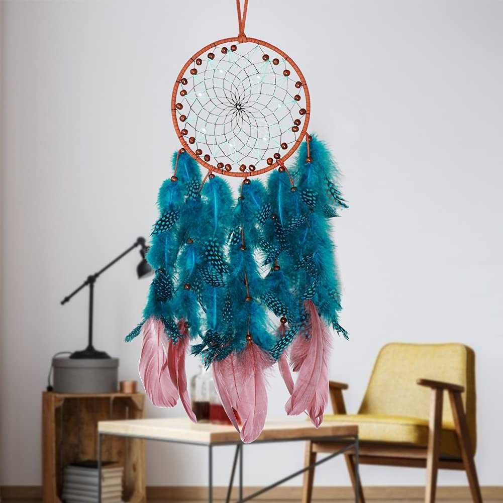 O-heart Blue Dream Catcher, Boho Handmade Wall Hanging with Pearl and Wood Beads Blue Feather Wall Hanging Decor, Bedroom Kids, Home Decoration, Art Ornament Craft Gift, Wedding Party Blessing Gift