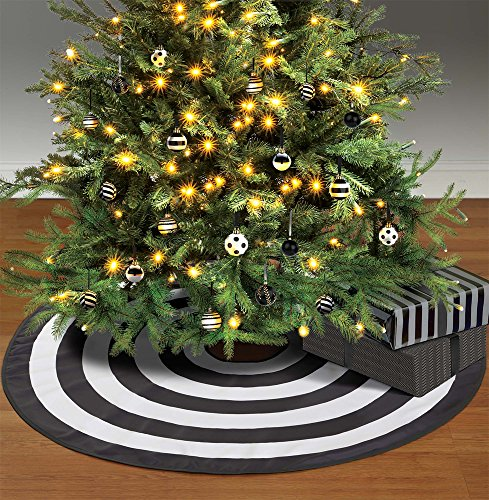 Amscan Black and White Tree Skirt, Elegant Polyester Accessory Measures 46 Inches Diameter, For Halloween or Christmas (Pinstripe Ornaments Christmas)