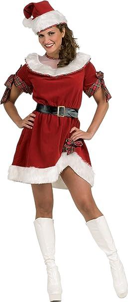 Secret Wishes Ms. Santa Dress, Red/White, One Size
