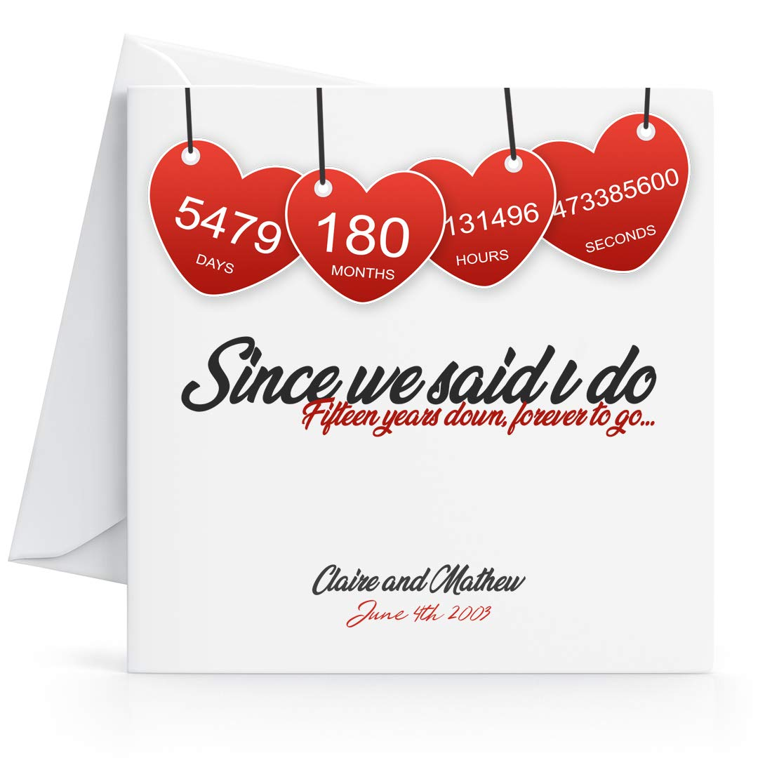 Personalised 15th Wedding Anniversary Card Printed Hearts for Wife or Husband