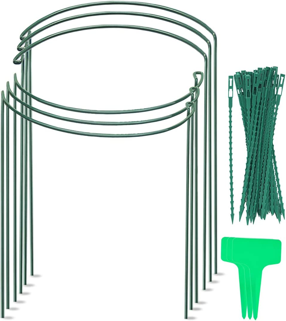 VeSumly Garden Support Stake, 6-Pack Half Round Metal Garden Plant Supports, Garden Plant Support Ring, Include 6 Plant Labels and 20 Plant Twist Ties