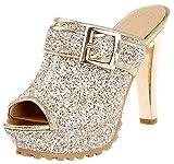 Mofri Women's Trendy Peep Toe Sequined Sandals - Glitter Buckled Belt Platform - Slide on Chunky High Heels Clogs Shoes (Gold, 4 B(M) US)