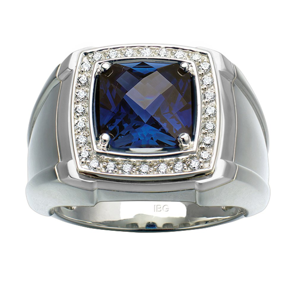 J.Goodman Sterling Silver Created Sapphire and Diamond Ring
