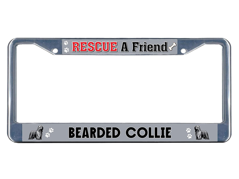 Briard Dog Rescue a Friend Chrome Metal License Plate Frame Tag Border