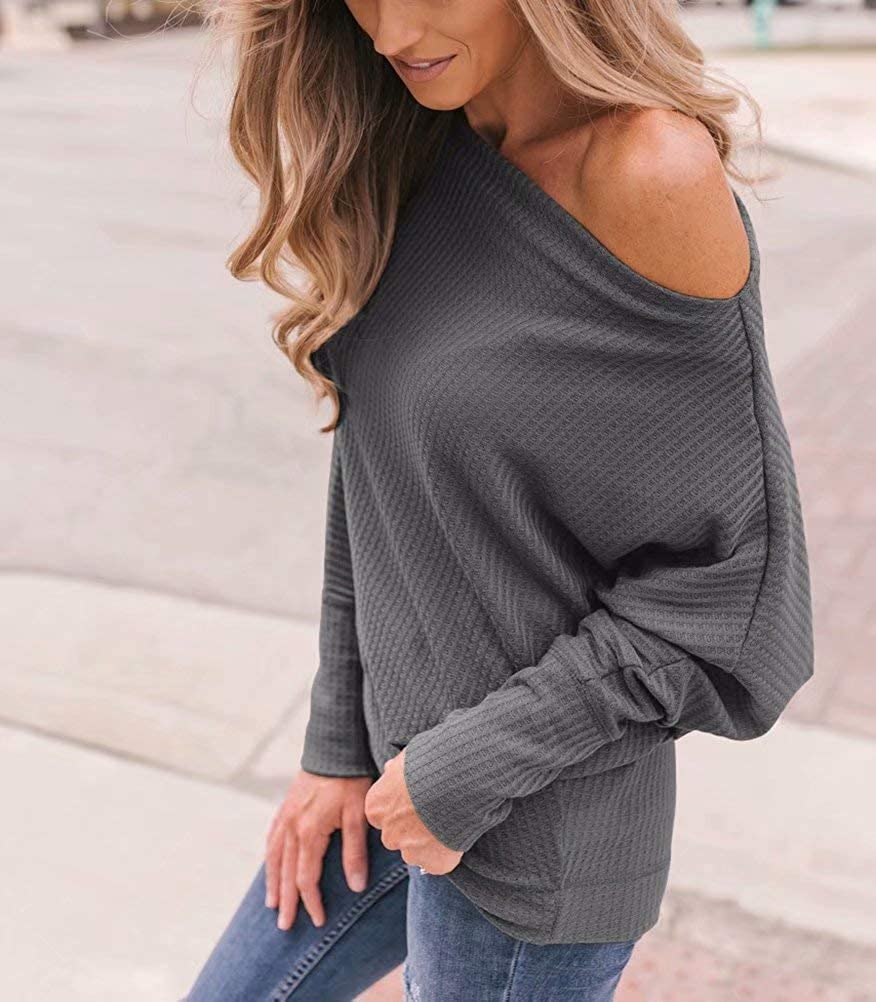LACOZY Women/'s Waffle Knit Off The Shoulder Tops Oversized Long Sleeve Tunic Shirts Pullover Sweaters