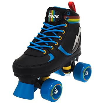 POWER MOVE Rainbow – Patines de Ruedas Niño, ROMVRAILI-050NB, Negro/Azul