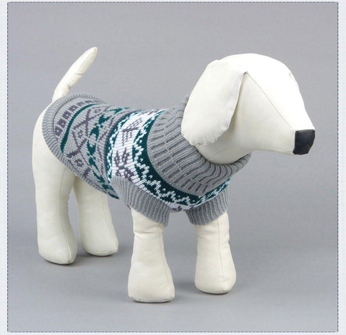 Pullover Jacke Winter Schnee Muster Fliesen Weihnachten Kleidung Tineer Haustier Hund Sweater Stricken Kleidung Schneeflocke Pet Cat Coat