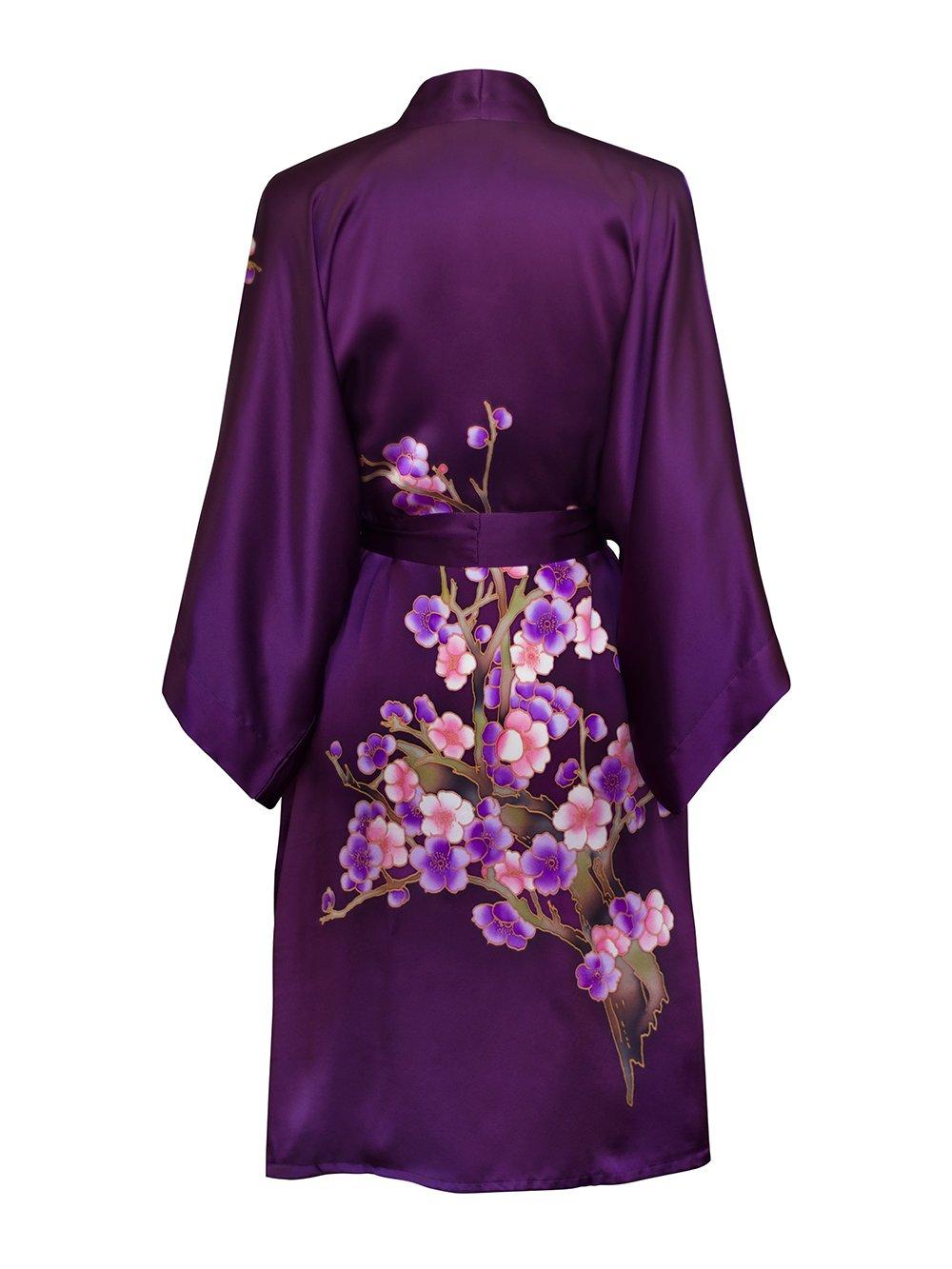 Old Shanghai Women's Silk Kimono Short Robe - Handpainted (Cherry Blossom Plum) by Old Shanghai (Image #2)