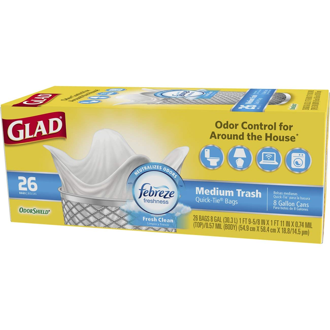 Glad Medium Quick-Tie Trash Bags - OdorShield 8 Gallon White Trash Bag, Febreze Fresh Clean - 26 Count Each (Pack of 6)
