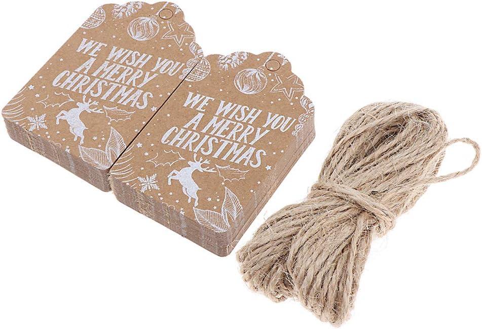 PETSOLA 50x Weihnachten Etikett Kraftpapier Tags Anh/änger Etiketten DIY Merry Christmas Weihnachten Party Deko Etikett Preisschild Schild A