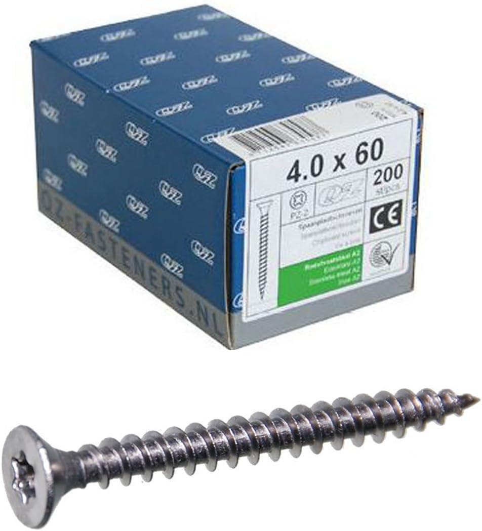 400/QZ tirafondos de cabeza 3.5/x 40/TX de 10/Acero inoxidable A2/roscados